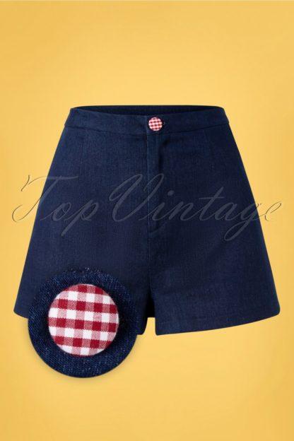 50s Diner Days Shorts in Dark Blue