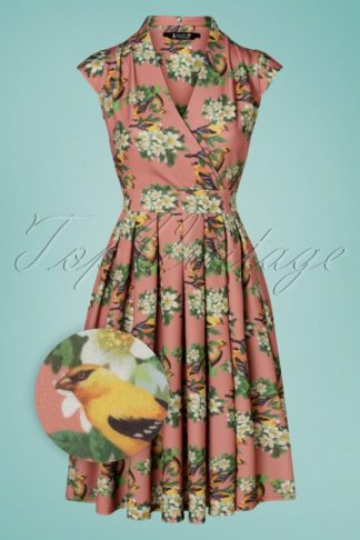 50s Eva Trio Birds Swing Dress in Vintage Pink
