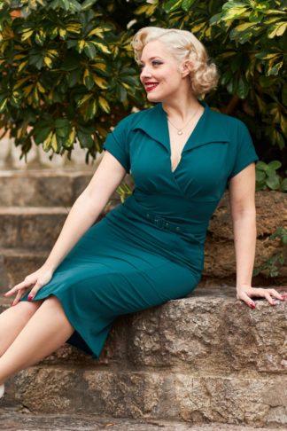 50s Fancy Kat Empowering Wiggle Dress in Teal