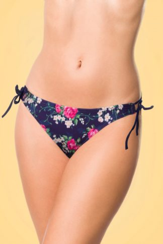 50s Feline Floral Bikini Pants in Dark Blue