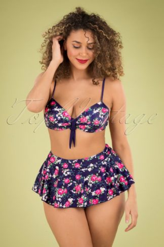 50s Feline Floral Bikini Skirt in Dark Blue