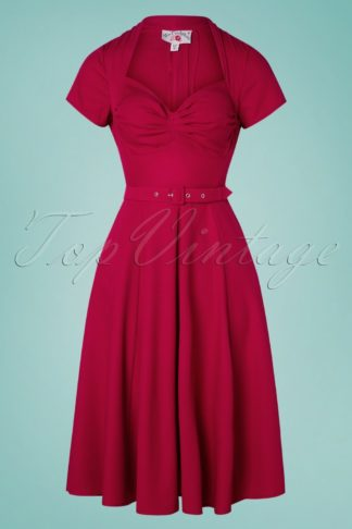 50s Fianna Helio Swing Dress in Cerise