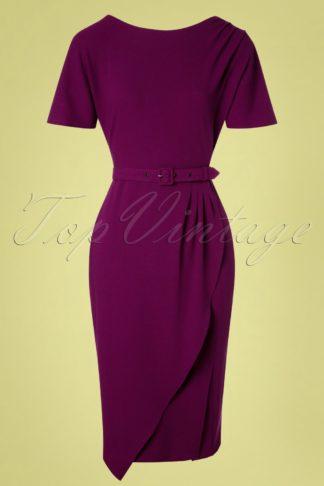 50s Finlay Wiggle Dress in Sangria Purple