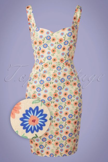50s Flower Power Pencil Dress in Cream