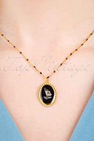 50s Gold Plated Flower Necklace in Black