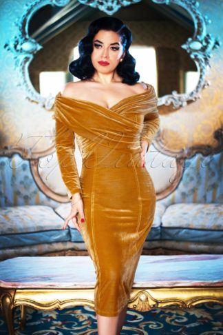 50s Hollie Velvet Pencil Dress in Gold