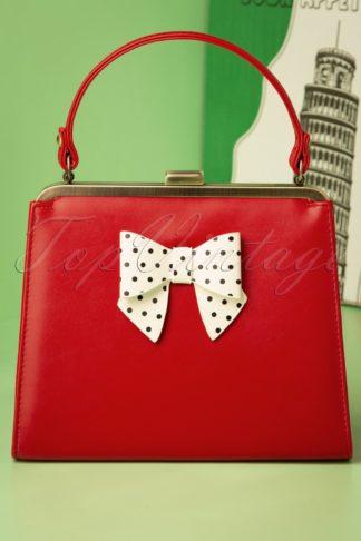 50s Inez Polkadot Bow Bag in Red