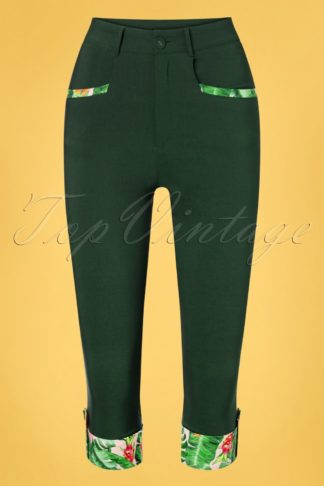 50s Ivy Tropical Capri Pants in Green