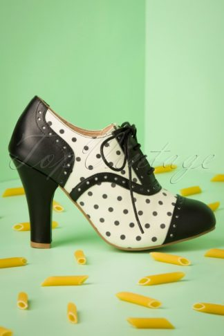 50s June Verona Shoe Booties in Black and Off White