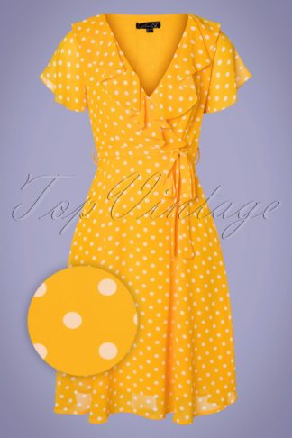 50s Kamila Polkadot Swing Dress in Yellow