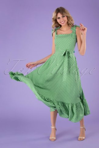 50s Katrina Polka Dot Swing Dress in Green