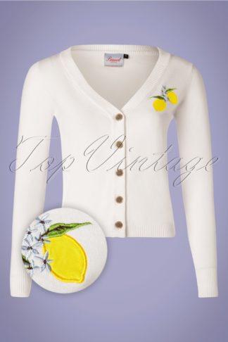 50s Lemon Cardigan in White