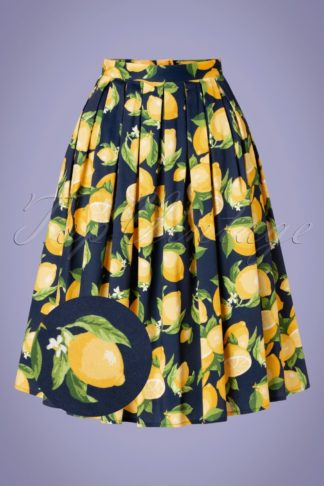 50s Lemon Pleated Swing Skirt in Navy