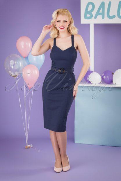 50s Lillian Pencil Dress in Navy