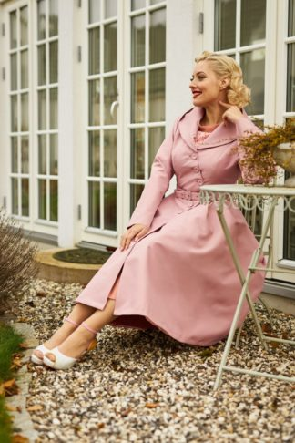50s Lorin Helio Swing Trench Coat in Old Rose