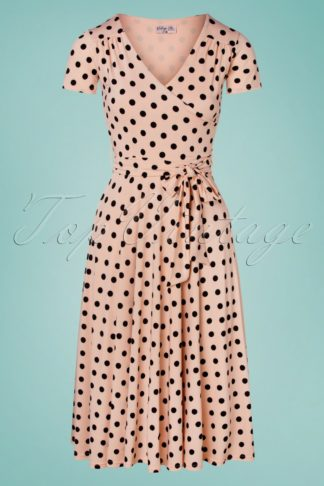 50s Lydia Polkadot Swing Dress in Blush