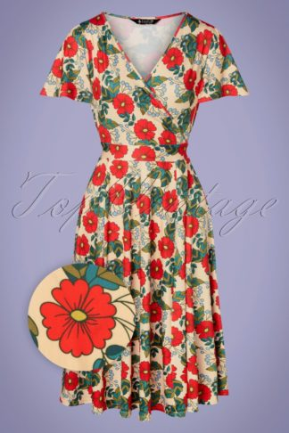 50s Lyra Poppy Swing Dress in Cream