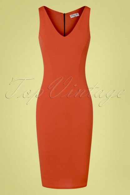 50s Makayla Pencil Dress in Cinnamon