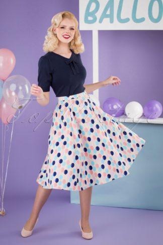 50s Matilde Balloons Swing Skirt in Cream