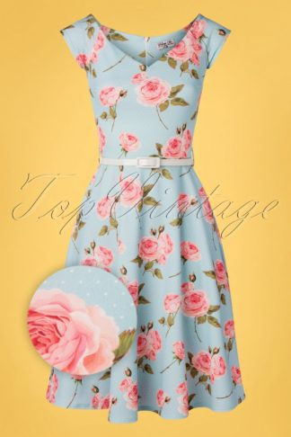 50s Merle Floral Dots Swing Dress in Pastel Blue