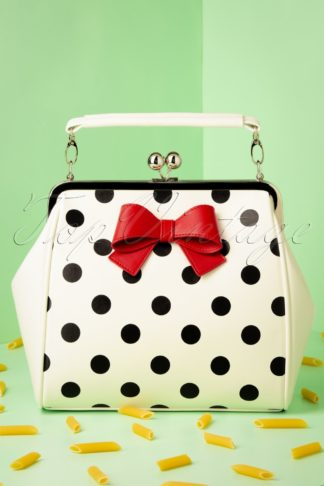 50s Molly Polkadot Bag in Off White