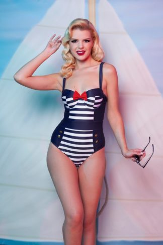 50s Nautical Swimsuit in Navy and White