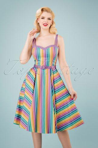 50s Nova Rainbow Stripes Swing Dress in Multi