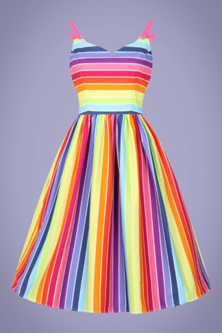 50s Over The Rainbow Swing Dress in Multi