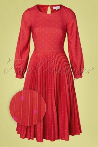 50s Patty Polkadot Pleated Dress in Red and Pink