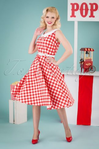 50s Poppy Vintage Gingham Swing Dress in Red