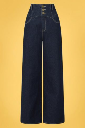 50s Rebel Kate Wide Leg Trousers in Navy