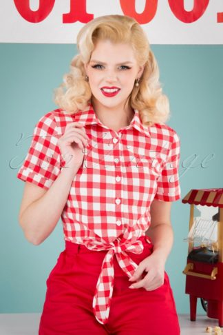 50s Sammy Vintage Gingham Tie Blouse in Red