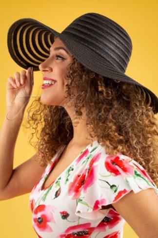 50s Sorrento Straw Hat in Black
