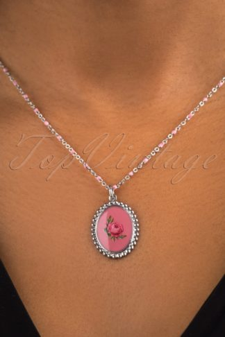 50s Stainless Steel Rose Necklace in Pink