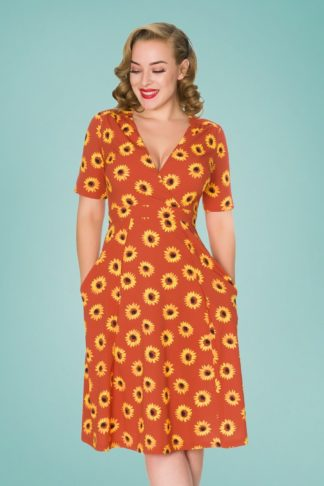 50s Stephanie Sunflower Swing Dress in Rust