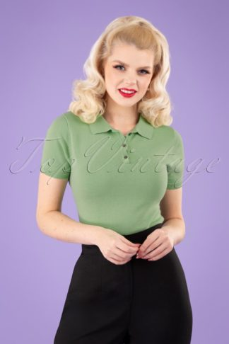 50s Summer Polo in Mint Green