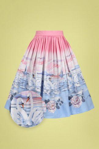 50s Swan Swing Skirt in Pink