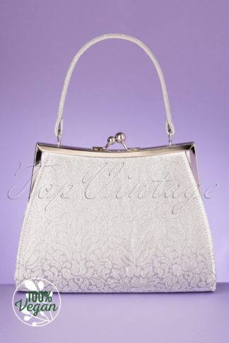 50s Toulouse Handbag in White and Silver