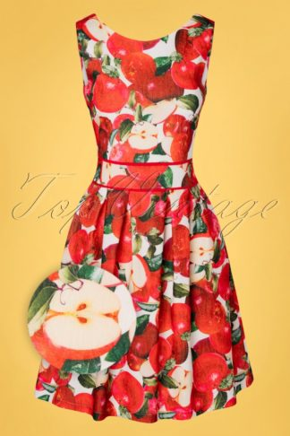 50s Valeria Apples Swing Dress in White and Red