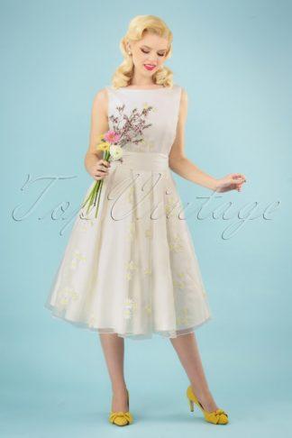 50s Vanessa Daisy Swing Dress in Ivory