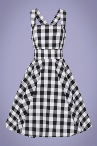 50s Victorine Gingham Pinafore Dress in Black and White
