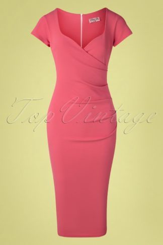 50s Violetta Pencil Dress in Rose Pink