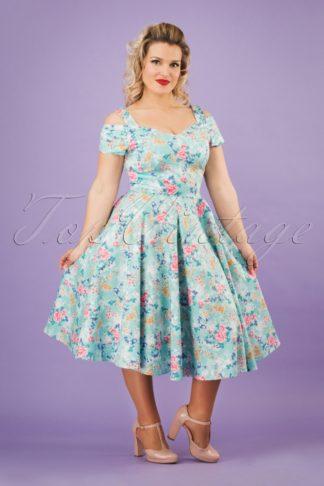 50s Yoko Swing Dress in Mint Blue