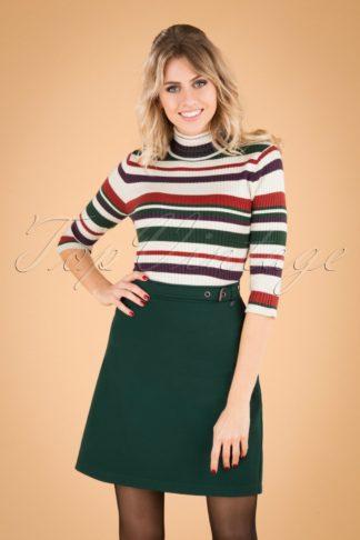 60s Alena Belt Skirt in Green
