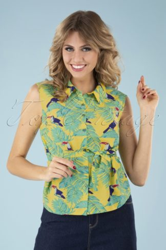 60s All Over Toucan Blouse in Yellow