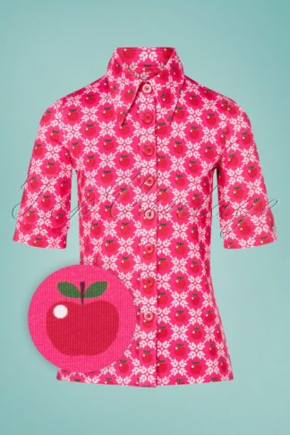 60s Apple Grain Button Blouse in Pink