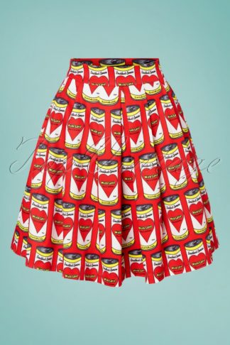60s Can With Love Swing Skirt in Red