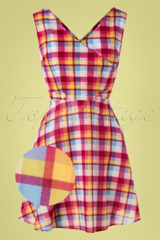 60s Chiquita Check Skater Dress in Multi