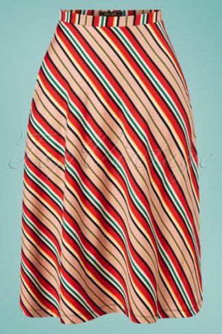 60s Juno Lido Stripe Skirt in Chili Red