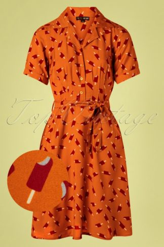 60s Kim Icelolly Dress in Burnt Orange